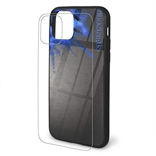 モンスターエナジー IPhone11/11pro/11pro Max ケースiPhone11/11pro/11pro Max ケース クリアガラス背面+TPUバンパー おしゃれ 耐衝撃 ワイヤレス充電対応 指紋防止 スマホケース 全面保護