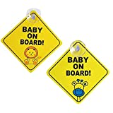 Weforu 2Pcs Baby on Board Car Warning Sticker Sign with 4CM Suction Cups Kids Baby in Car Safty Warning Sticker