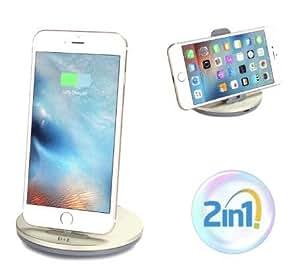【D&E】 2in1 急速充電スタンド iPhone iPad 対応 充電ドッグ (1年保証付き) シャンパンゴールド