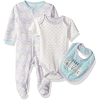 Rene Rofe Baby Unisex-Child Newborn 3 Piece Bodysuit, Bib & Coverall Set Layette Set - Multi