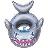 EOZY 浮き輪 プール 海 水遊び ボート フロート ベビー キッズ 子供用 可愛い フカの形 ハンドル付 足入れ 水泳圏 夏 休み 海水浴 M グレー