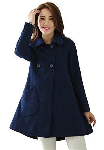 【PALERO・パレロ】 選べる4色 レディース 冬 あったか 超美形 細魅せ Aラインコート ピーコート 4サイズ (XL, ネイビー)