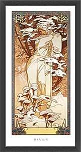 ポスター アルフォンス ミュシャ 四季 -冬- 1900年 額装品 ウッドベーシックフレーム(ブラック)