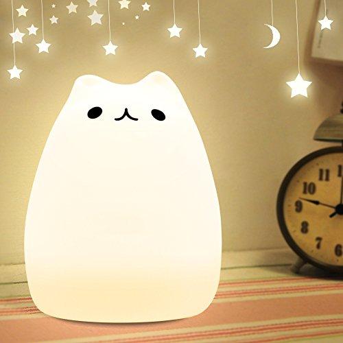 meicent(JP) 萌え猫 ランプ ベッドランプ 呼吸ライト USB充電 24時間照明 ナイトライト LED小夜灯 シリコンライト 雰囲気七色のグラデーションライト (猫)