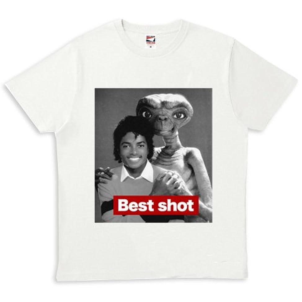 踏みつけ許可する洗練マイケルジャクソン ET 映画 白 パロディ Tシャツ 男女兼用 ユニセックス プリント