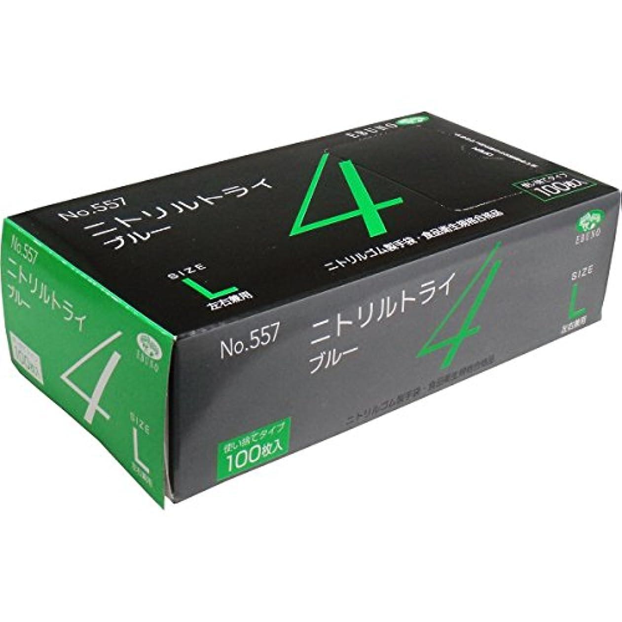 ピジン入学する怠感ニトリルトライ4 №557 ブルー 粉付 Lサイズ 100枚入