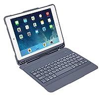 IPad Pro 9.7インチタブレット用ウルトラスリムワイヤレスBluetoothキーボードケース/ホルスター取り外し可能な保護カバー,グレー,ipad9.7