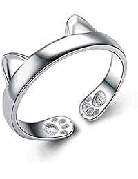 S&E Women's 925 Sterling Silver Rings Simple Cute Cat Design Opening Finger Ring Pink Cat Necklace,Earrings