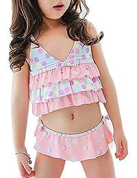 ange coco(アンジュココ) 水着 女の子 セパレート 可愛い 海 プール ピンク フリフリ 子供 キッズ SPF50 UVカット オリジナル タグ付き