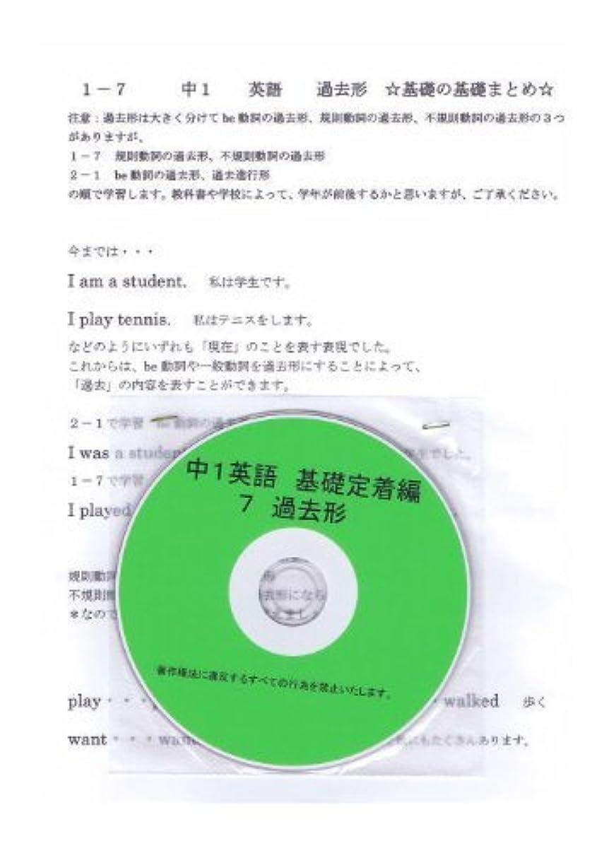 同僚症候群ニコチン中学 英語 1年【基礎】問題集 7 過去形 DVD (授業+テキスト+問題集)