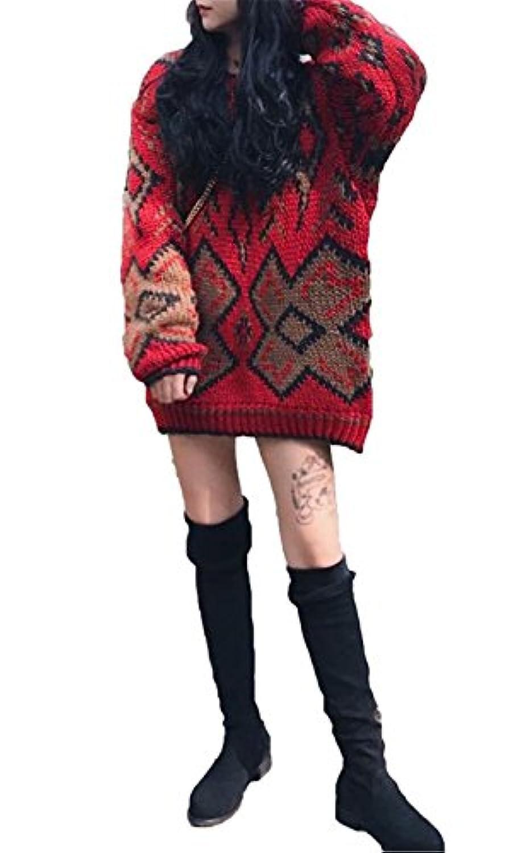 JIANGWEI レディース かわいい セーター 長袖 ミドルロング ゆったり ソフト 柔らかい 暖かい ファッション レッド