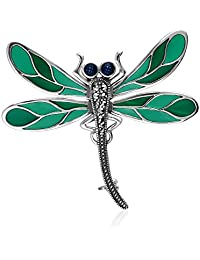 925 Sterling Silver Marcasite With Green Enamelling Dragonfly Brooch