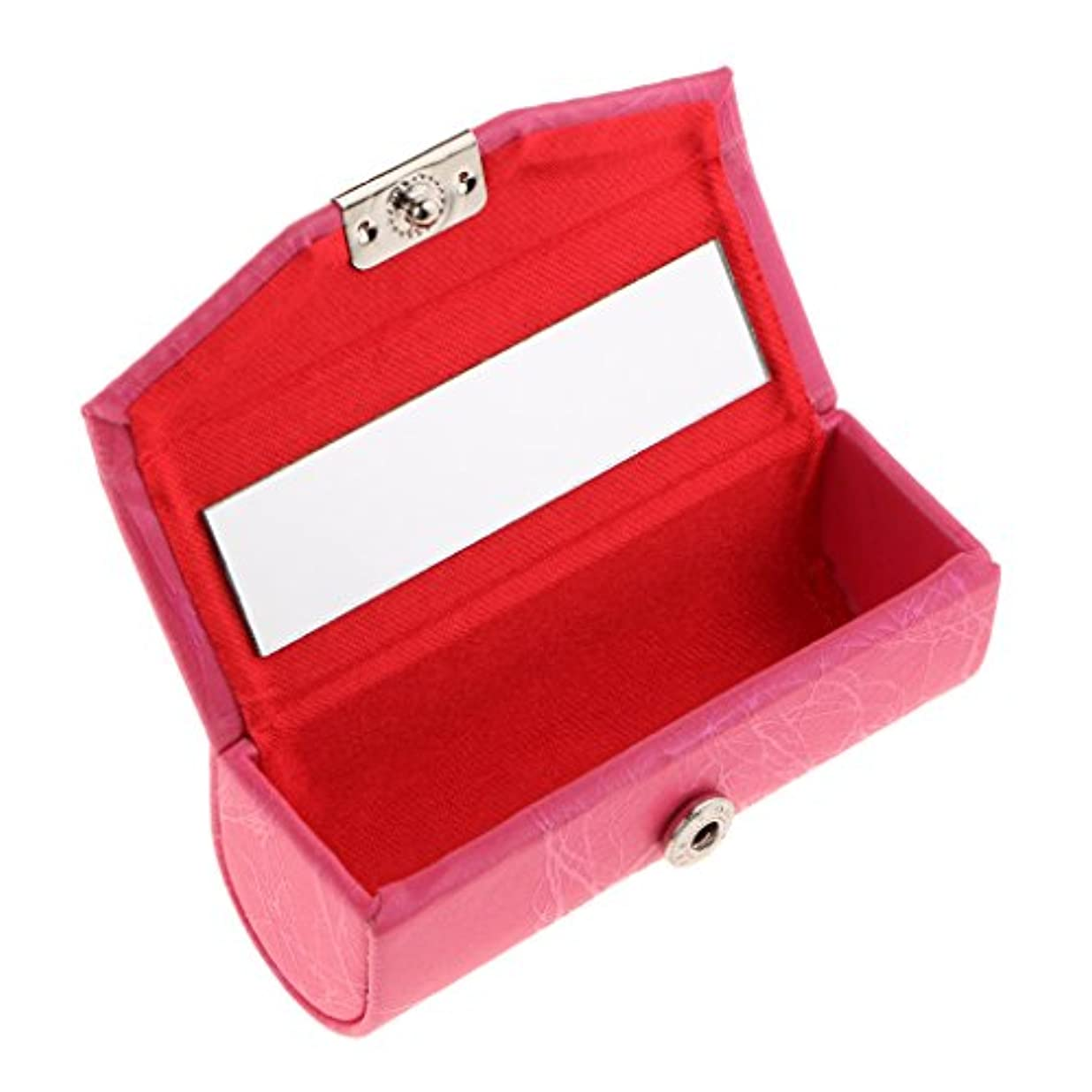 Blesiya リップスティックケース ミラー付き レザー リップスティック リップグロスケース 収納ボックス メイクホルダー 多色選べる - ローズレッド
