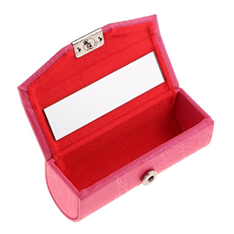 外向きくつろぐ最大のリップスティックケース ミラー付き レザー リップスティック リップグロスケース 収納ボックス メイクホルダー 多色選べる - ローズレッド, 説明したように