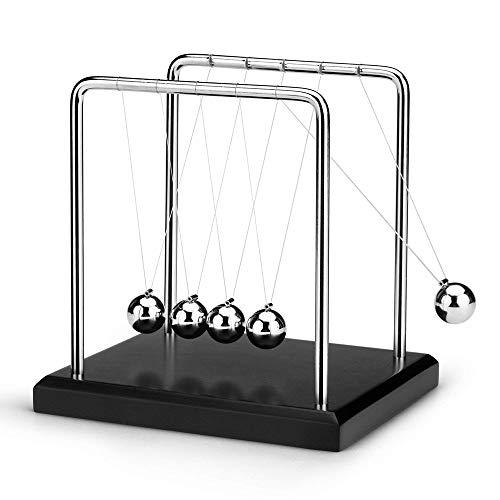 ScienceGeek ニュートンクレードル 揺りかご バランスボール 物理学振り子 クラッシク 衝撃玉 (ウッドベース・ブラック・Mサイズ) 科学 心理学 玩具