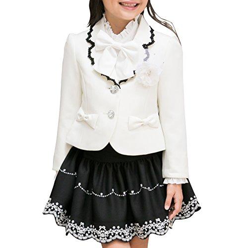 79fb76c5876e4  アリサナ arisana 入学式 女の子 スーツ 卒園式 子供服 フォーマル スカート フローラ (ジャケット + スカート + コサージュ の 3点  セット) 白ジャケット 1.