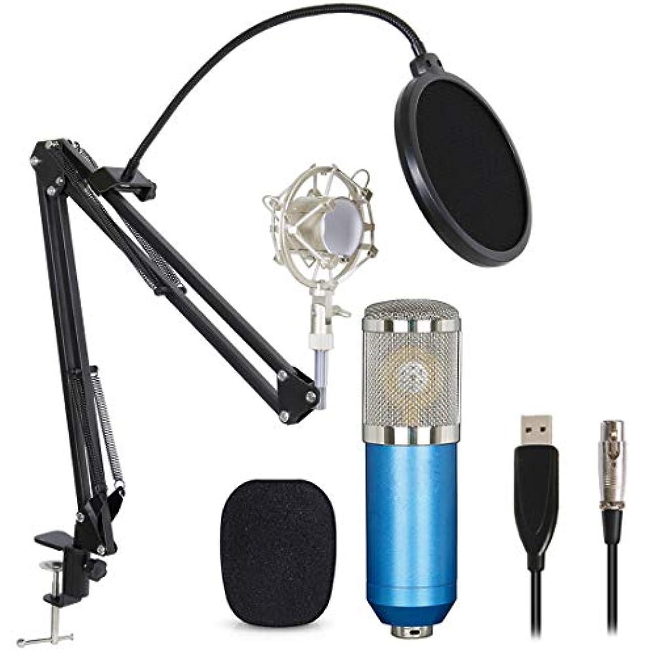 安全でない爆弾端プロフェッショナル USBコンデンサーマイクバンドル BM800 XLR 3ピンマイクキット 調整可能なブームシザーアームスタンド付き ショックマウント ポップフィルターUSBオーディオケーブル コンピュータ Youtube Singing Studio 記録用 L ブルー