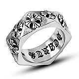 ZAKAKA リング メンズ クロムハーツ風 チタン指輪 ファッション 彫りアクセサリー プレゼント (16)