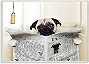 The Stupell Home Décor Collection Pug Reading Newspaper in Bathroom Wood Plaque Wall Art, 10 x 15 Inches