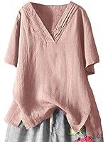 Sodossny-JP 女性コットンリネン半袖ルーズブラウスカジュアルVネックシャツ Pink S
