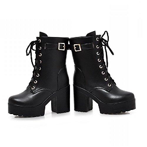 (ケージョイ) K-JOY 厚底+11cm ショート ブーツ F207-1 ブラック 36(23.0cm)