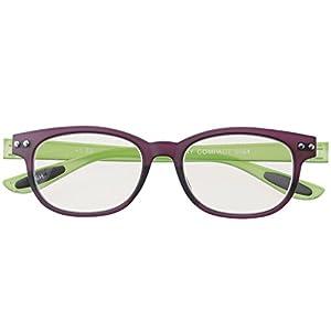 メイガン おしゃれ 老眼鏡 ブルーライトカット パープル*グリーン 度数+1.50 (colorfulook 軽量 形状記憶 フレーム) 5564-15