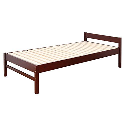 【JAJAN】 天然木 すのこ ベッド 【 アブサロム 】 シングル ベッド ブラウン [ 三段階 高さ調整 選べる 3カラー ][ 耐荷重 150kg ]