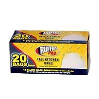 Berry Plastics 660338Ruffies Pro 20-count 13-gallon Drawstring Kitchen Trash Bags 12 1124903