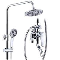 HSBAIS 調整可能なシャワー - すべての銅のシャワーシステムの組み合わせワンボタン3スピードのシャワーセットシャワーホットとコールドバルブ、混合バルブ、調整可能なスライダー