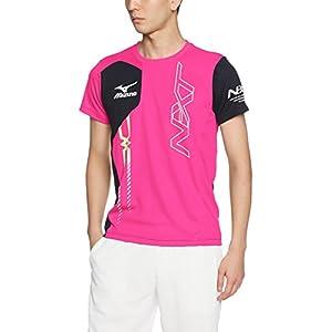 (ミズノ)MIZUNO トレーニングウェア Tシャツ [ユニセックス] 32JA7520 65 ピンクグロー×ディープネイビー L