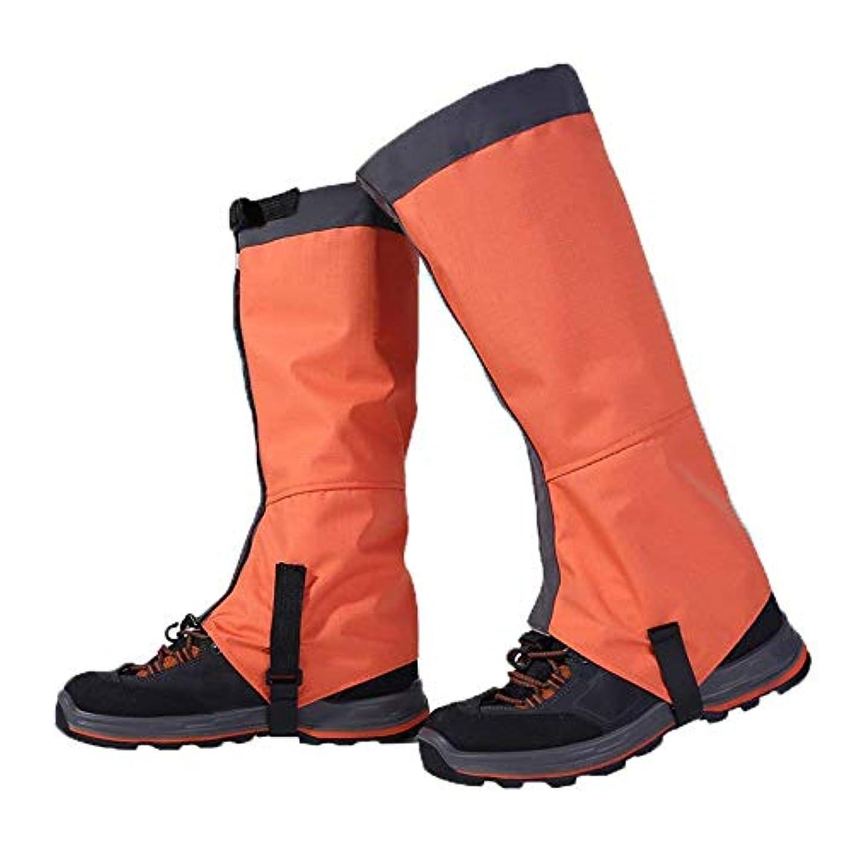 ブラウン自分の攻撃サイクリンググ シューズカバー ウォータープルーフハイキングガーターズ耐久性のあるレギンスガイター通気性の高いレッグカバーラップ男性用女性マウンテントレッキングスキーウォーキングクライミングハンティング - 1ペア (色 : オレンジ, サイズ : Large)