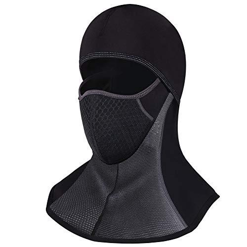 バラクラバ 目出し帽 フェイスマスク バイク スキー サイクリング 厚 冬用 防寒 防水 黒 (黒(ファスナー付き))
