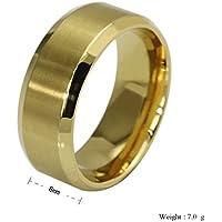 BEE&BLUE ステンレス チタンリング 指輪 18Kゴールドメッキ 8MM幅リング R-004G