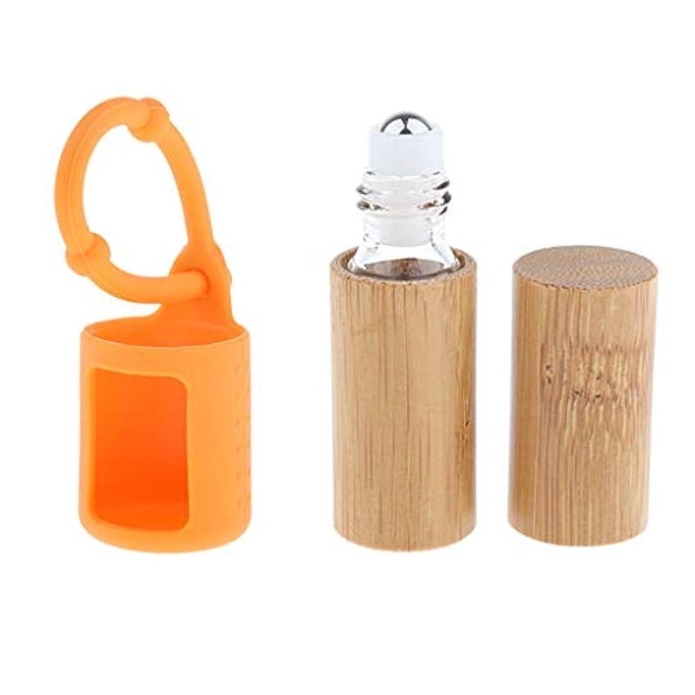 国パズルアクセスできない竹ボトル エッセンシャルオイル 香水 オイル 精油瓶 詰め替え 5ミリ 吊り掛けバッグ付