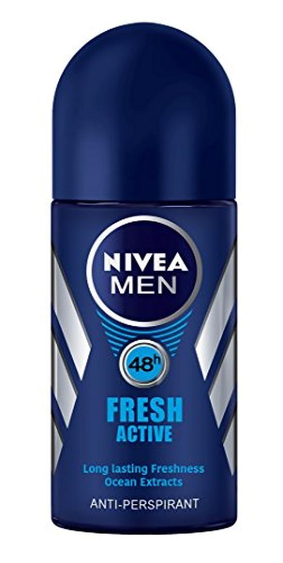 交換可能化石ドリルNivea Fresh Active Anti-perspirant Deodorant Roll On for Men 50ml - ニベア新鮮なアクティブ制汗剤デオドラントロールオン男性用50ml