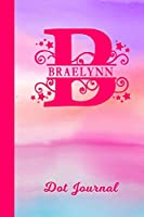 Braelynn Dot Journal: Personalized Custom First Name Personal Dotted Bullet Grid Writing Diary | Cute Pink & Purple Watercolor Cover | Daily Journaling for Journalists & Writers for Note Taking | Write about your Life Experiences & Interests