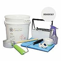 【CORAL TEX】トライアルローラーセット たっぷり20kg 珪藻土風 (015 DOVER SKY)と塗装道具セット 塗る人に優しく、環境・健康を考えた西洋漆喰