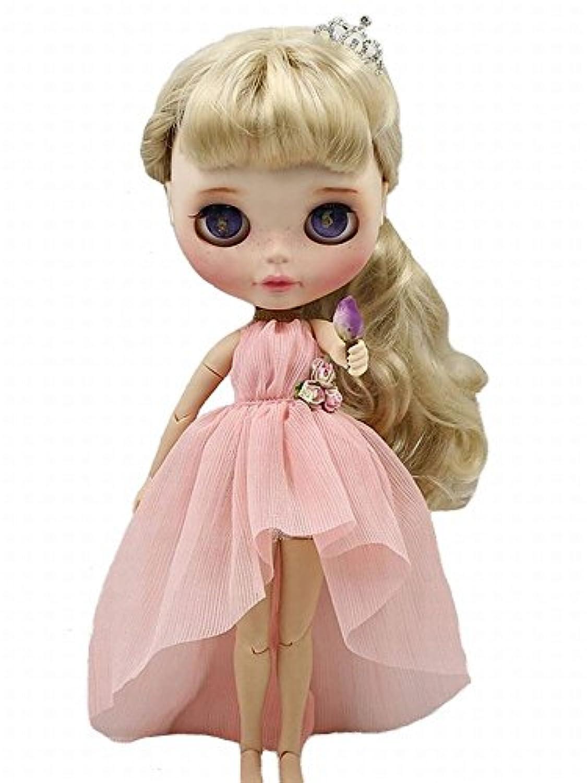 YR EARTH ブライス用 衣装 S060 アシメトリー シフォン ドレス blythe アウトフィット (ピンク)