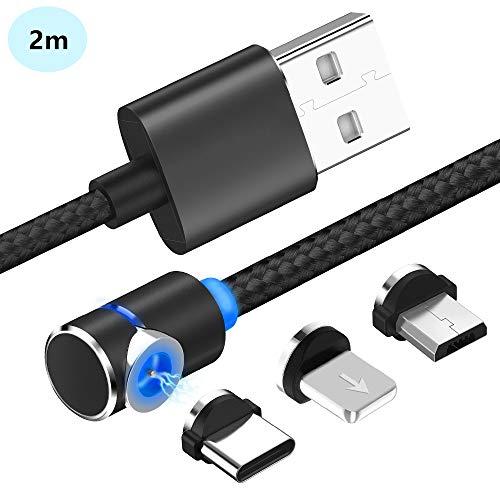 YUANSHOP1 強力マグネット式 ライトニング/Type-C/Micro USB充電ケーブル 1本3役 急速充電 L字型 USBケーブル 磁石 着脱式 360度回転 iPhone Android多機種対応 LEDライト付き 高耐久ナイロン編み加工 (ブラック 2m長)