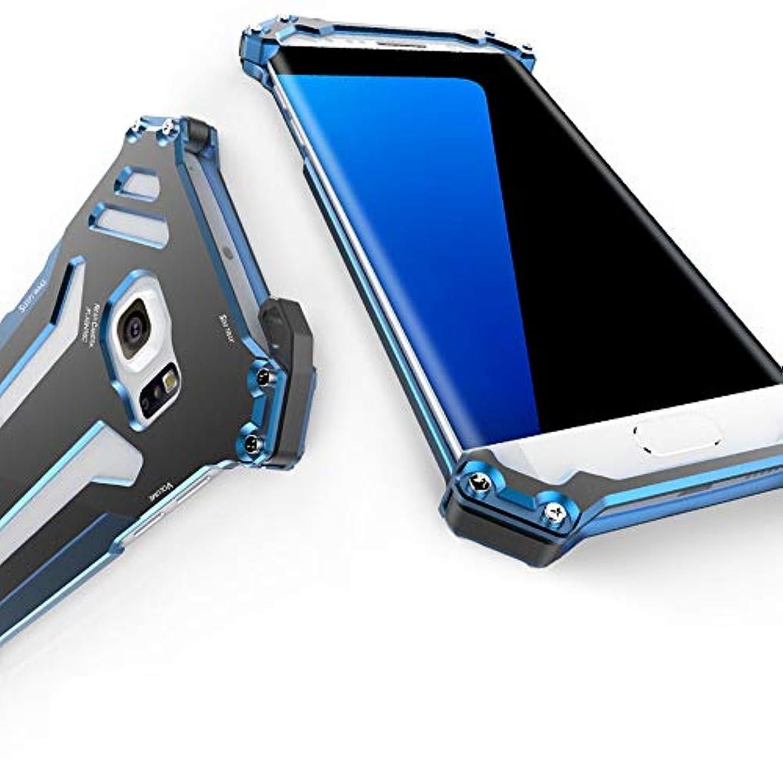 迫害滴下パーツTonglilili Samsung S7、S7の端のためのアルミニウム金属フレームの携帯電話の貝の電話箱 (Color : Black+Blue, Edition : S7 edge)