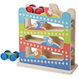Melissa & Doug First Play Roll & Ring Ramp Tower (Cars and Vehicles, 2 Wooden Cars, 32.0675 cm H x 11.1125 cm W x 28.2575 cm L)