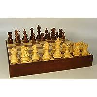 Chess Set, Sheesham Boxwood Pieces, Walnut Maple Board with Storage