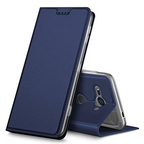 Xperia XZ2 Compact ケース 手帳型 KuGi Sony Xperia XZ2 Compact カバー Xperia XZ2 Compact Dual H8324 スタンド機能付き 手帳型ケース 横開き 耐衝撃 PUレザー カバー スマートフォンケース Sony Xperia XZ2 Compact 携帯全面保護カバー 本体の傷つきガード ネイビー