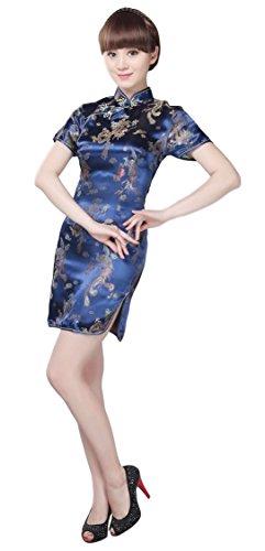 Black Omen (ブラックオーメン) 龍と鳳凰柄 ミニ チャイナドレス (青色(ブルー)、L)