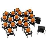 100個6 x 6 mm x 5 mm PCB瞬間触覚プッシュボタンスイッチ4ピンDIP(オレンジ)-OR