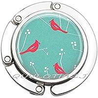 アクアバックグラウンドに赤のカーディナルス バードパース フック クリスマスジュエリーアートバッグフック ベストフレンド財布フック シンプルなハンドバッグフック 毎日のハンドバッグフック ゴージャスな財布フック ot162 44-45mm