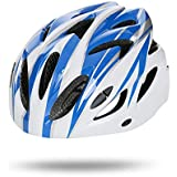 Fashion Breathable Helmet Men and Women Ultra Light Integrated Molding Riding Helmet Mountain Road Bicycle Equipment Pretty (Color : Blue White)