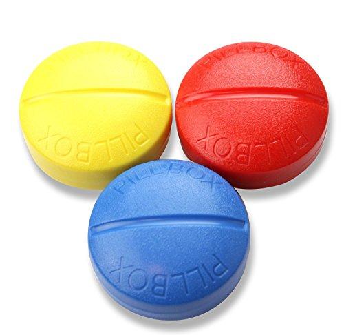 【INNOVATION FACTORY】 シンプル ピルケース 携帯 便利 お薬 整理整頓 習慣薬箱 薬入れ 薬ケース 錠剤 カプセル タブレット 用途 たくさん 常備用 手持ちバック 自宅に 赤 黄 青 3種類セット (赤・青・黄)