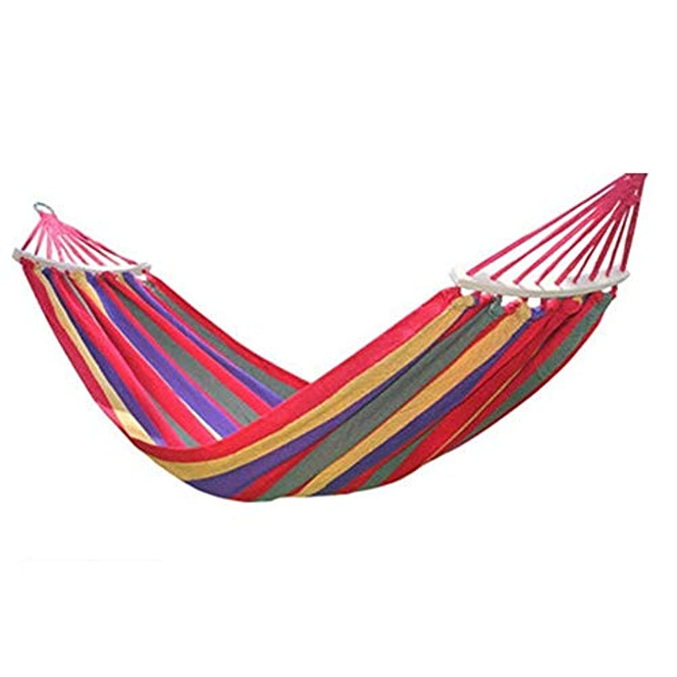 不利益技術者階下ZAQXSW-dc 屋外キャンバス吊りシートダブル木製スティックロールオーバー肥厚学生寮寮屋内スイングチェア (Color : Red Stripe)
