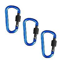 青の旅行家のキャンプ釣りハイキングのための3個のアルミニウムカラビナキーチェーンクリップ大胆なフックバックル